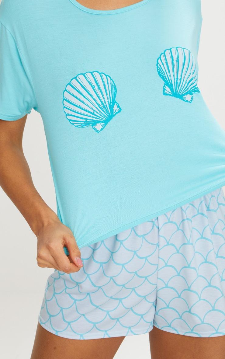 Pale Blue Shell Mermaid Short PJ Set  5