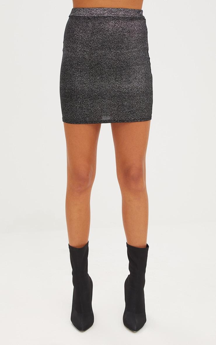 Black Speckle Foil Mini Skirt 2