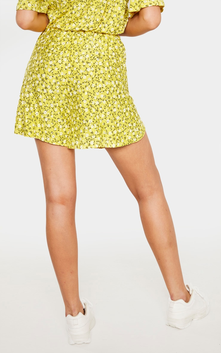Tall Yellow Ditsy Floral Print Floaty Short 4