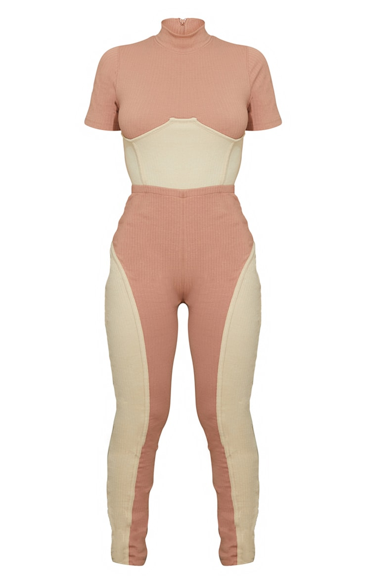 Stone Thick Rib Contrast Panel Underbust Detail Jumpsuit 5