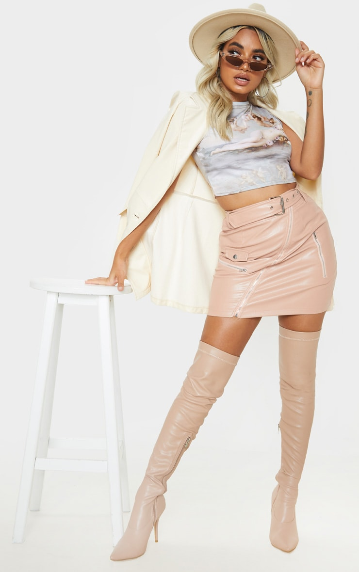Petite Taupe Faux Leather Biker Belted Mini Skirt 5