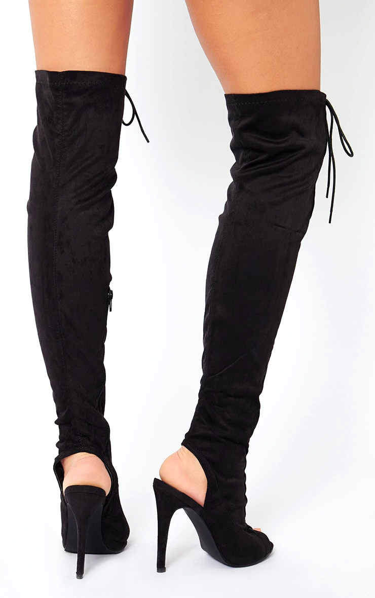 Valentina Black Suede Lace Up Thigh Boots 3