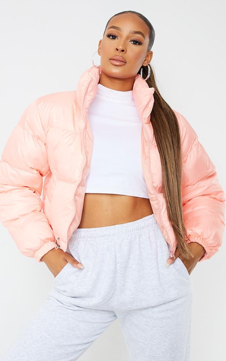 Peach Nylon Toggle Hem Puffer Jacket 1