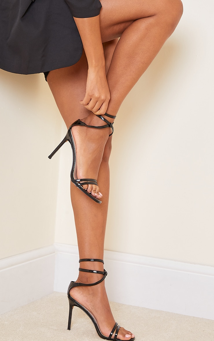 Black Double Strap Multi Ankle Tie High Heeled Sandals 2