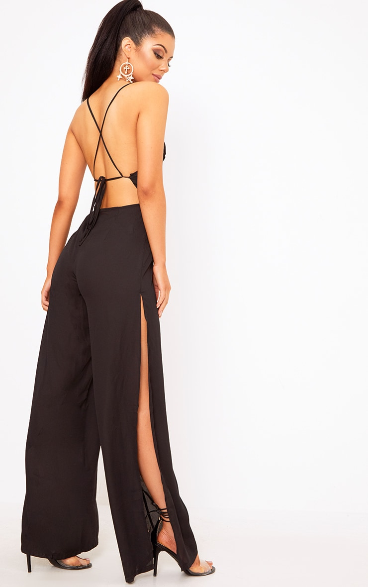 Black Plunge Side Split Leg Jumpsuit  1