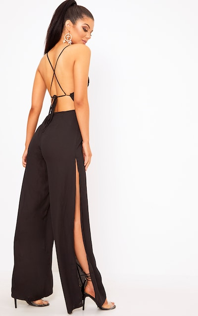 f5605c5b0b Black Plunge Side Split Leg Jumpsuit