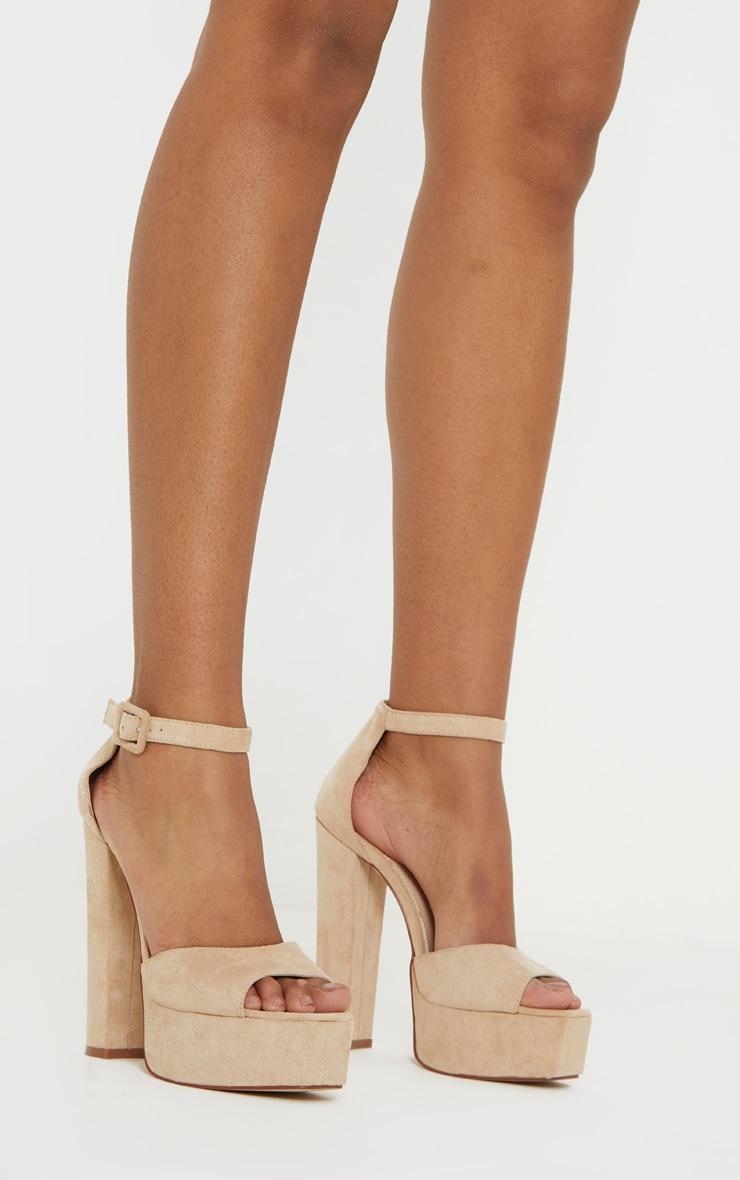 Sandales nude à haute plateforme 2