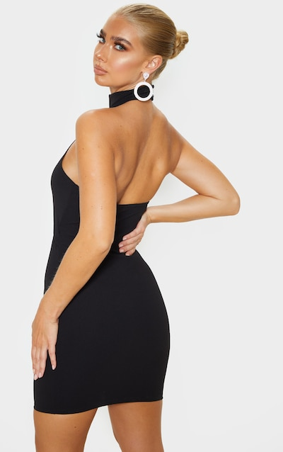 Black High Neck Centre Cut Out Sleeveless Bodycon Dress
