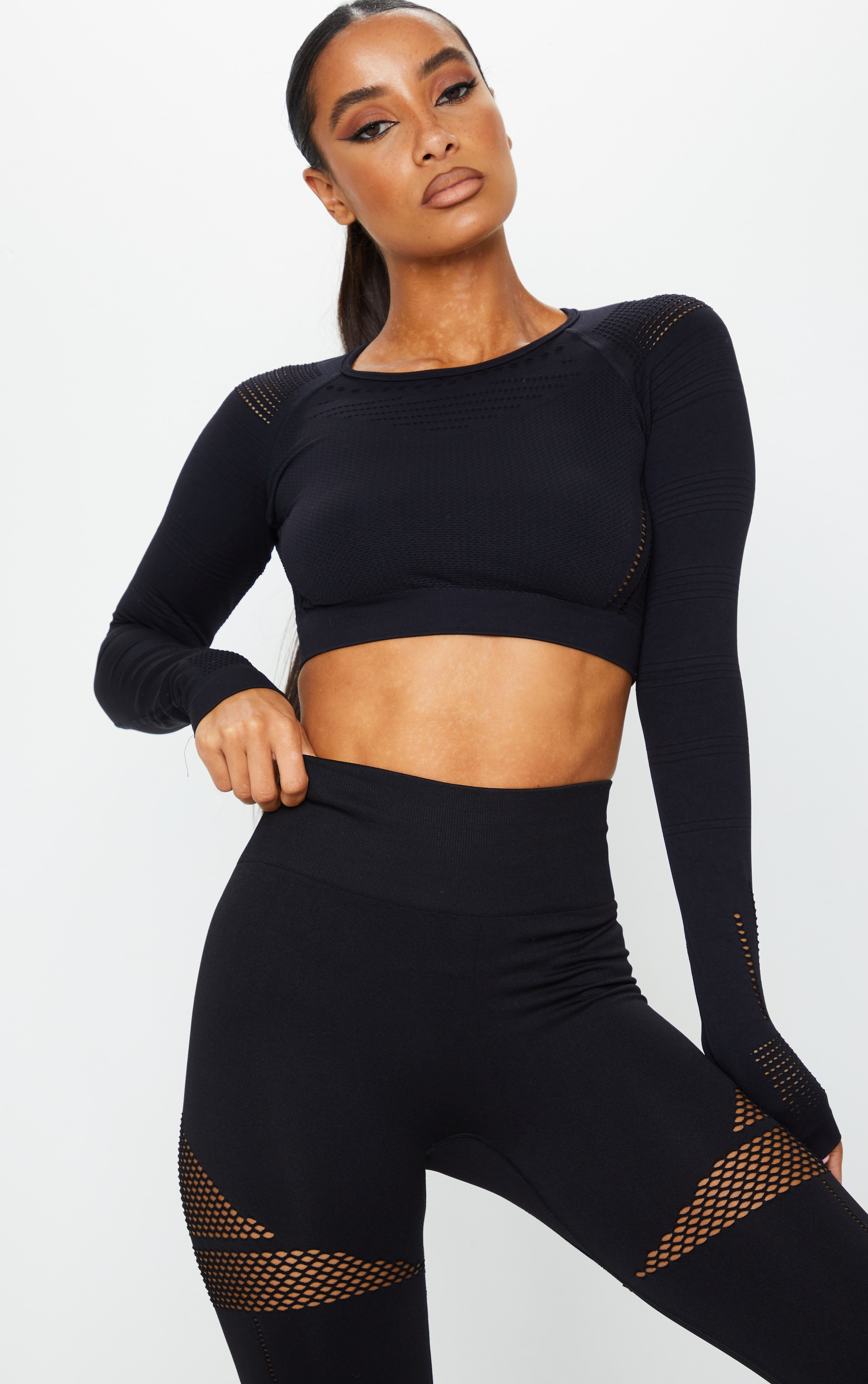 PRETTYLITTLETHING Black Long Sleeve Cut Out Seamless Top 1