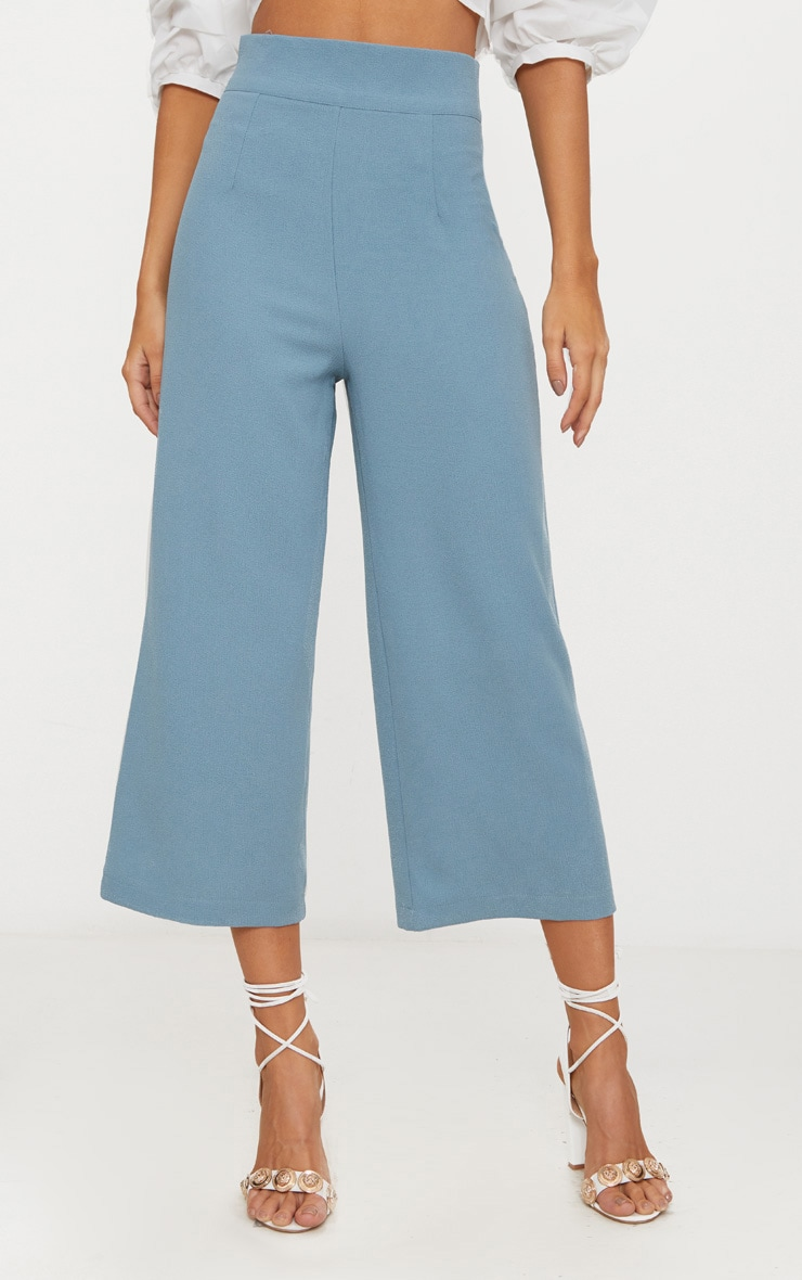 Dusty Blue High Waisted Culottes  2
