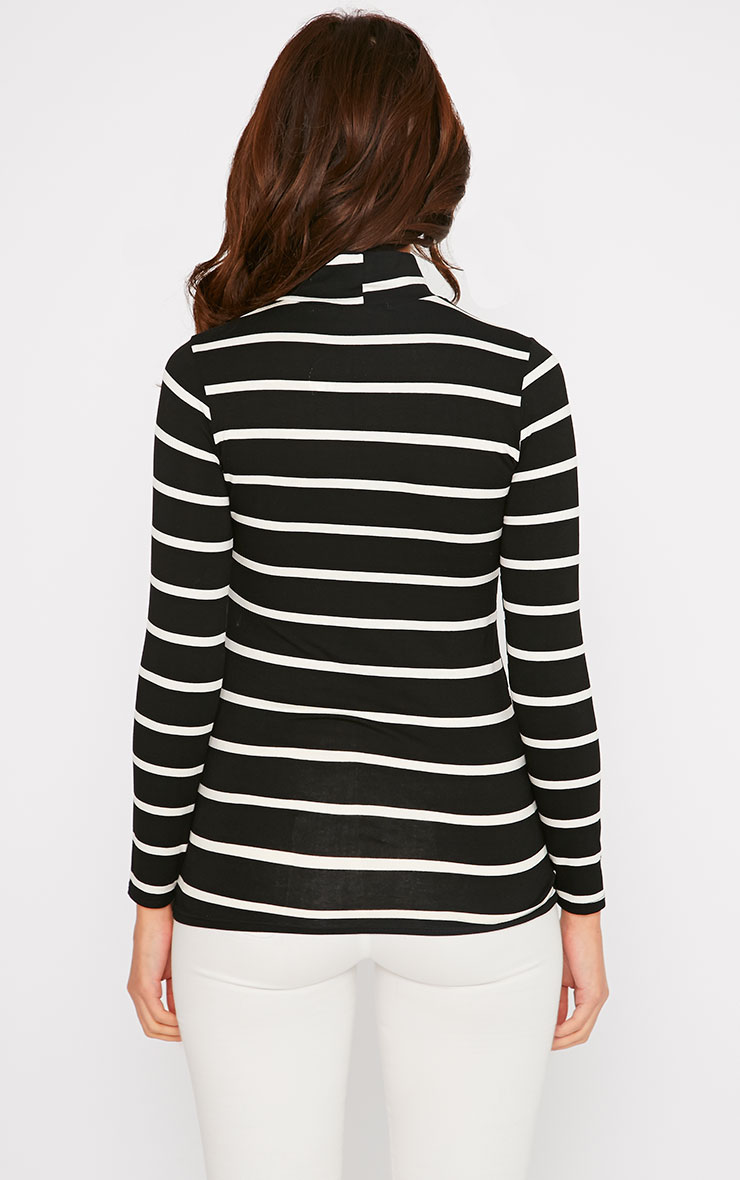 Dani Black Stripe Turtle Neck Top 2