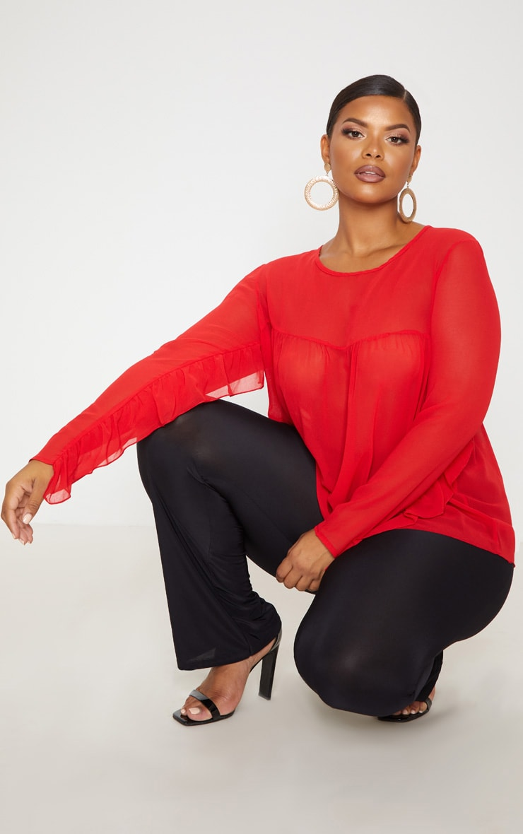 Plus Red Sheer Frill Sleeve Top 1