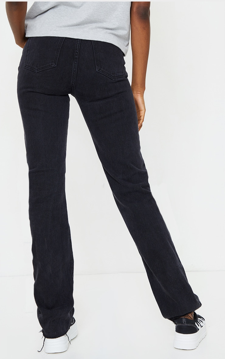PRETTYLITTLETHING Tall Washed Black Long Leg Straight Jean 3
