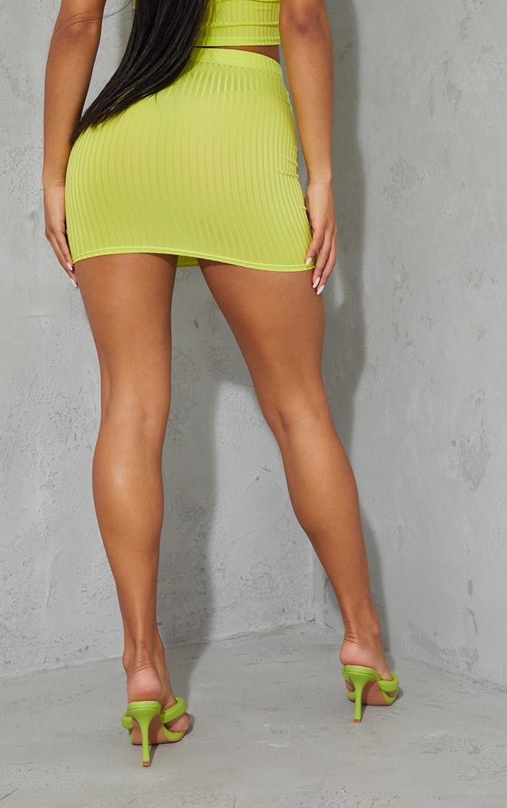 Lime Green Rib Mini Skirt 3