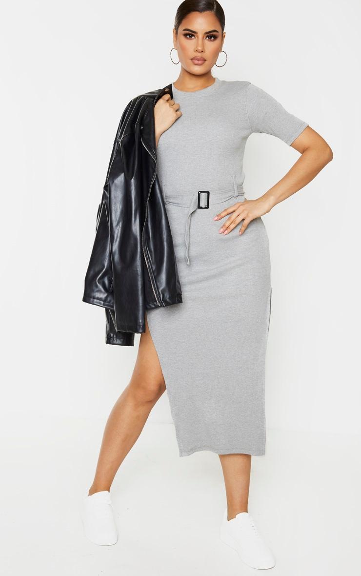 Tall - Robe mi-longue très côtelée grise à détail ceinture 1