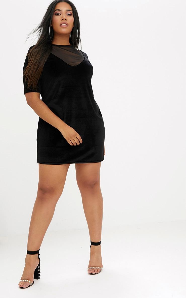 Plus Black Mesh Insert Velvet T-Shirt Dress 4