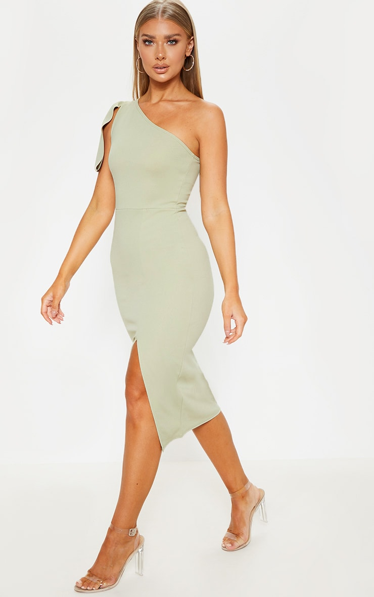 Sage Green One Shoulder Bow Detail Midi Dress 3