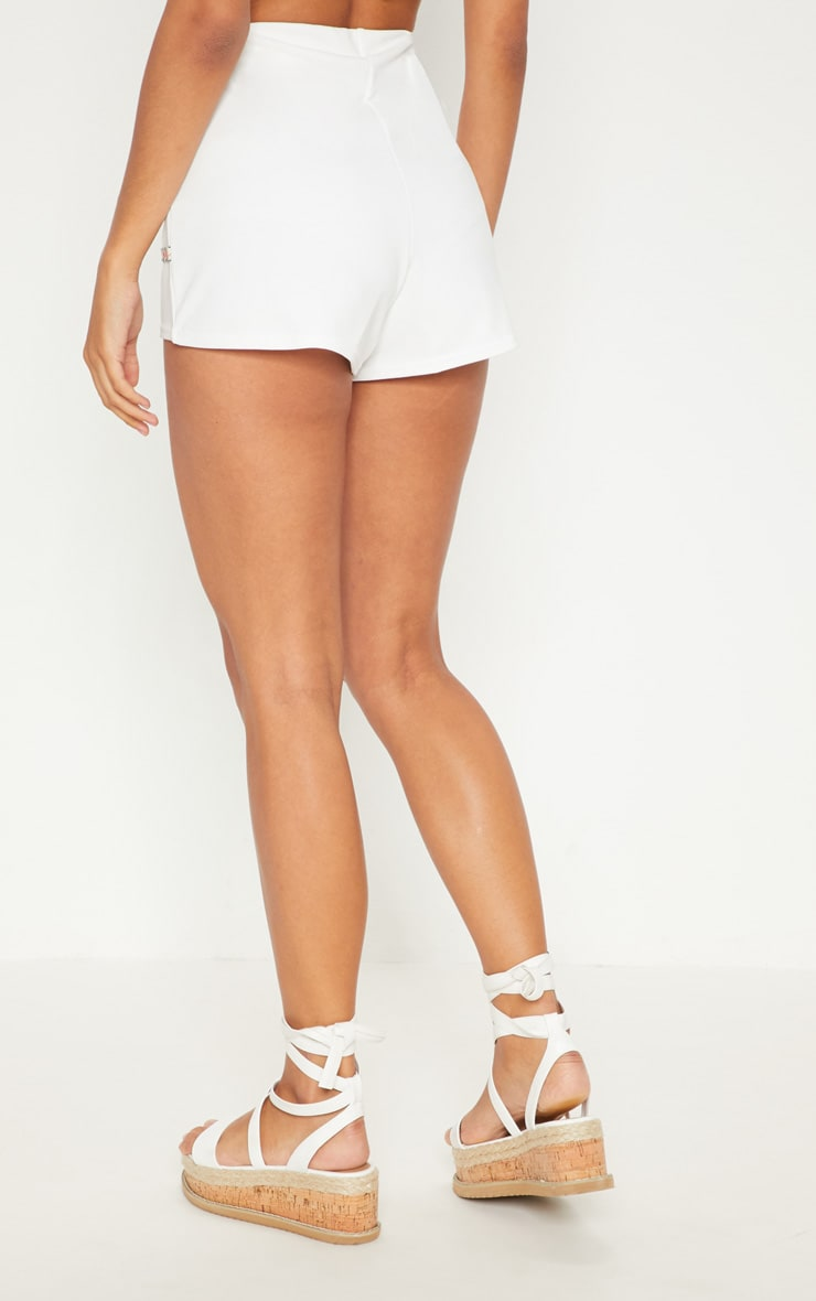 White Herringbone Tape Detail Short 4