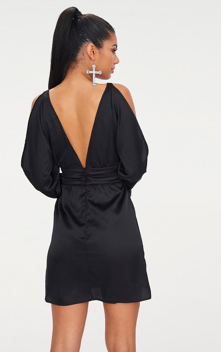 Black Satin Cold Shoulder Plunge Bell Cuff Bodycon Dress 2