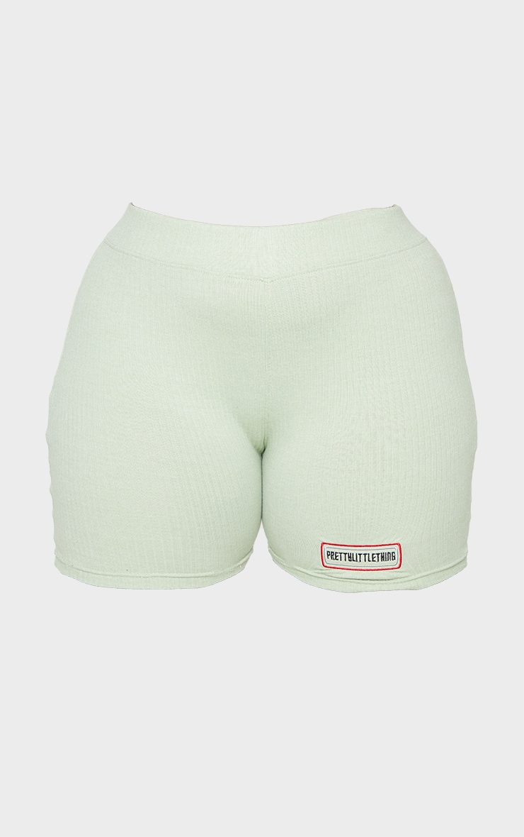 PRETTYLITTLETHING Plus Sage Green Ribbed Cycle Shorts 6