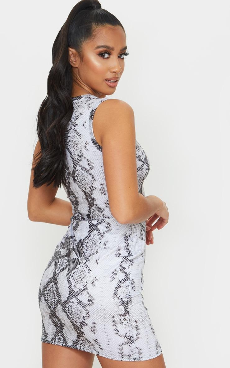 Petite Grey Snake Print Jersey Mini Dress 3