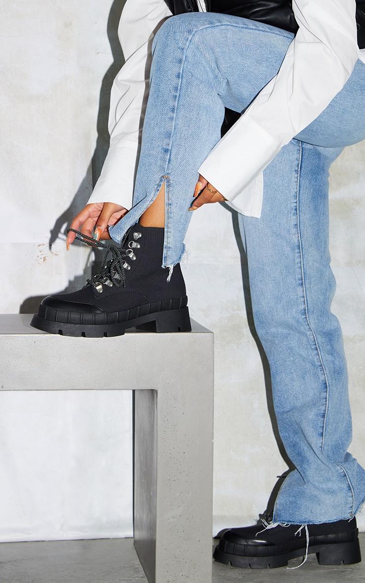 Black Canvas Round Toe Cap Hiker Lace Ankle Boots 2