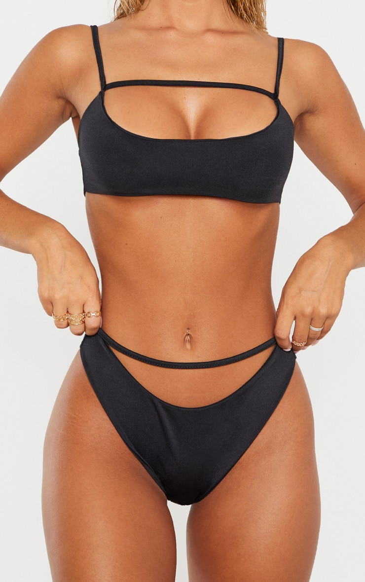 Black Strap Front High Leg Bikini Bottom 6