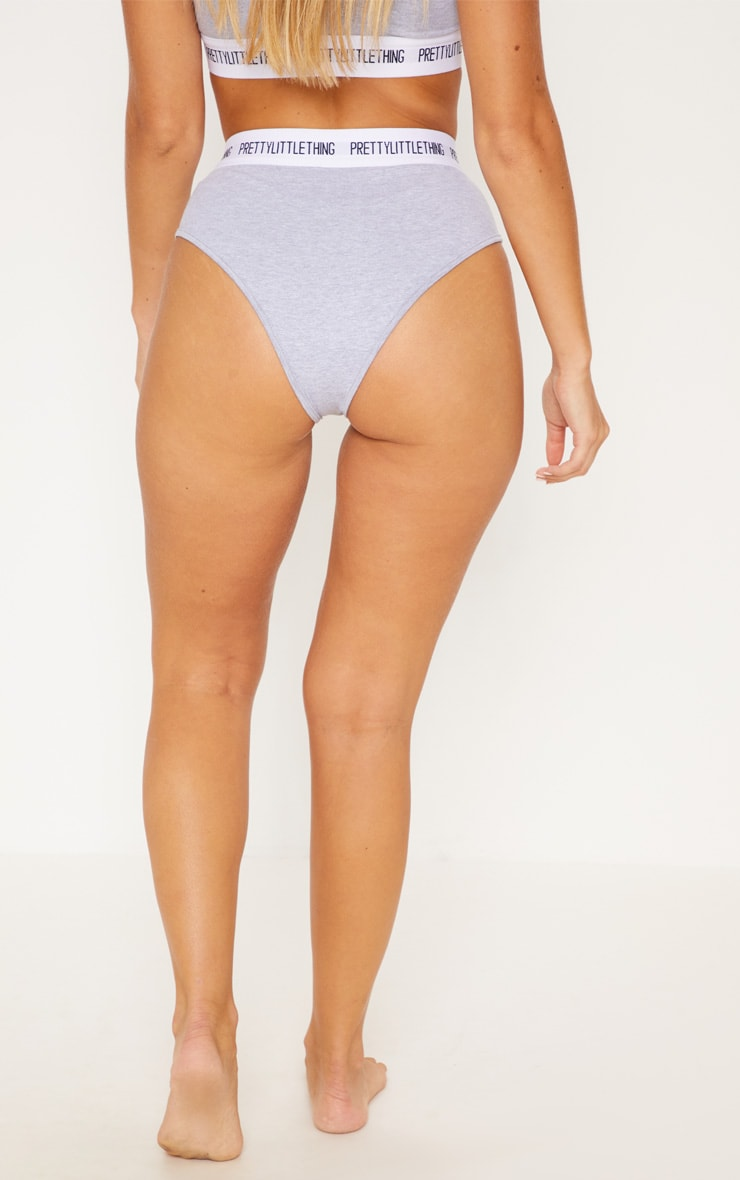 PRETTYLITTLETHING Light Grey High Waisted Panties 4