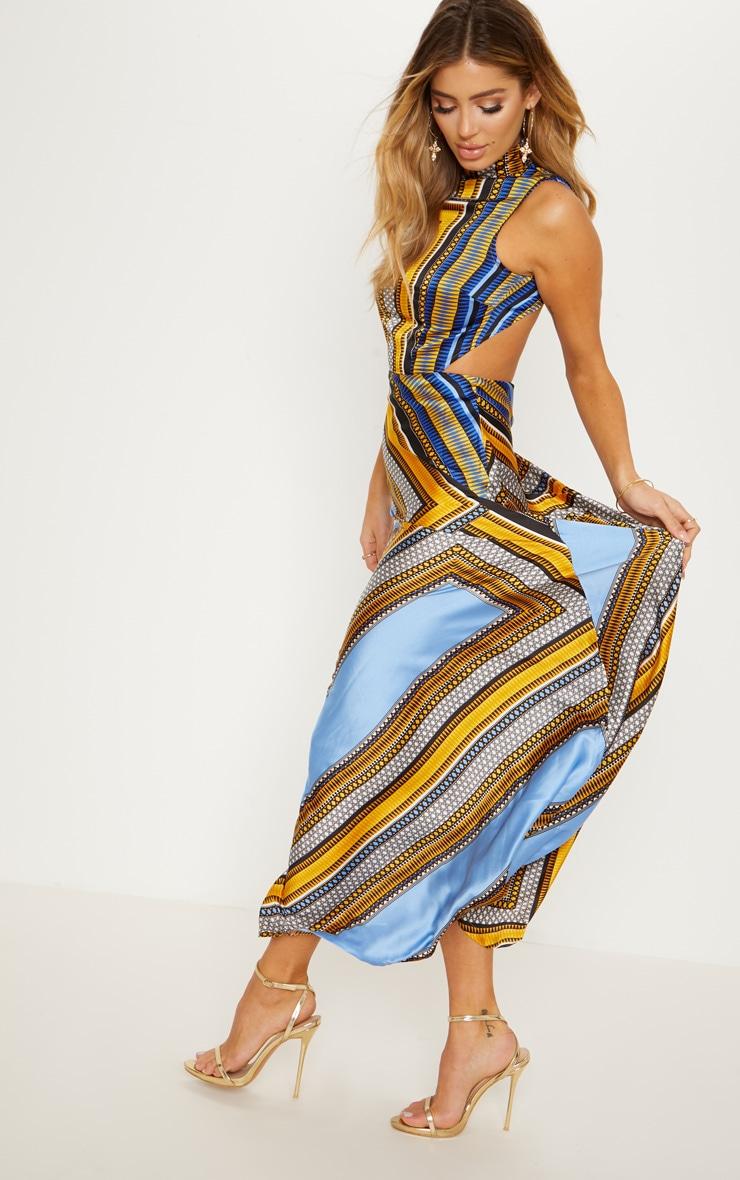 Blue Scarf Print Backless Maxi Dress 3