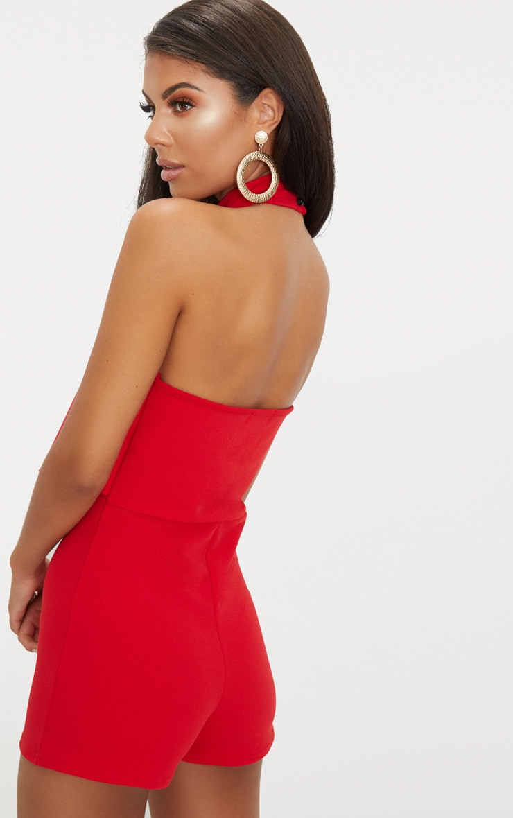 Red Crepe Drape Playsuit 2