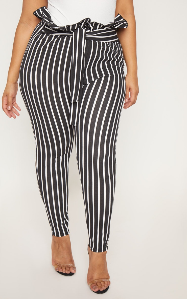 Plus Black Pinstripe Paperbag Skinny Trousers 2