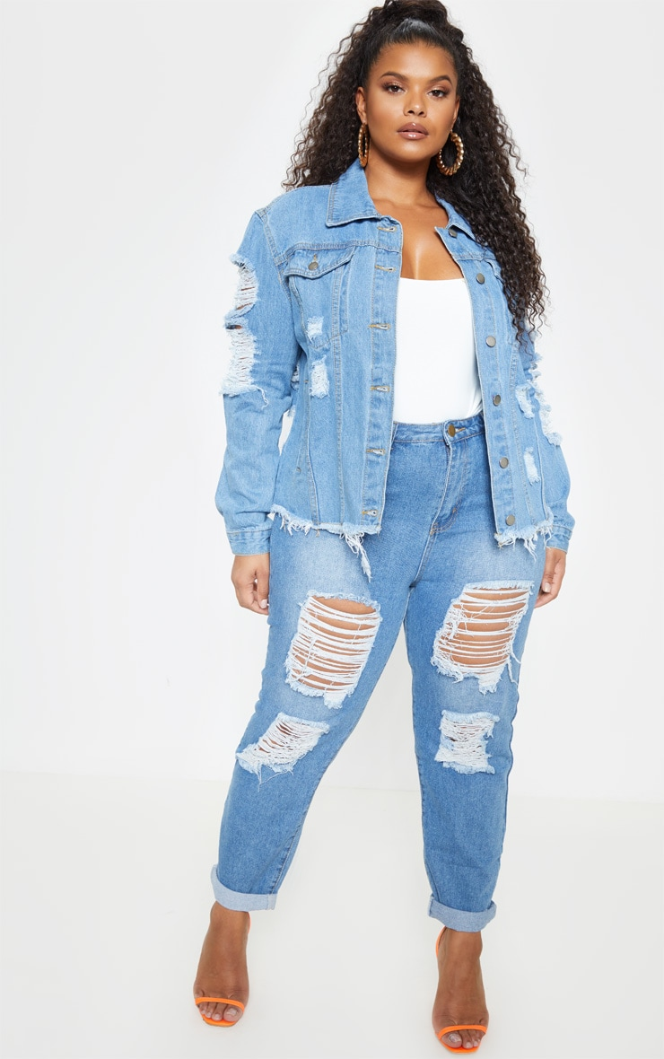 Plus Light Wash Distress Oversized Denim Jacket 5
