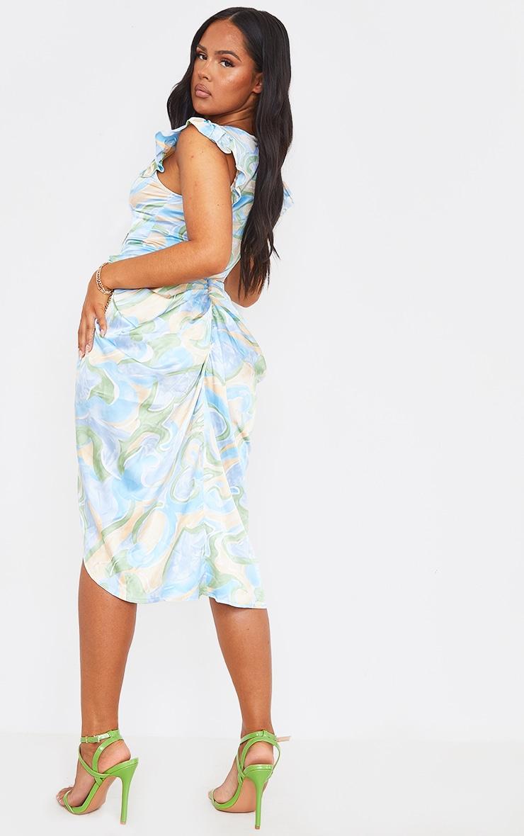 Blue Abstract Print Satin Buttoned Draped Midi Dress 2
