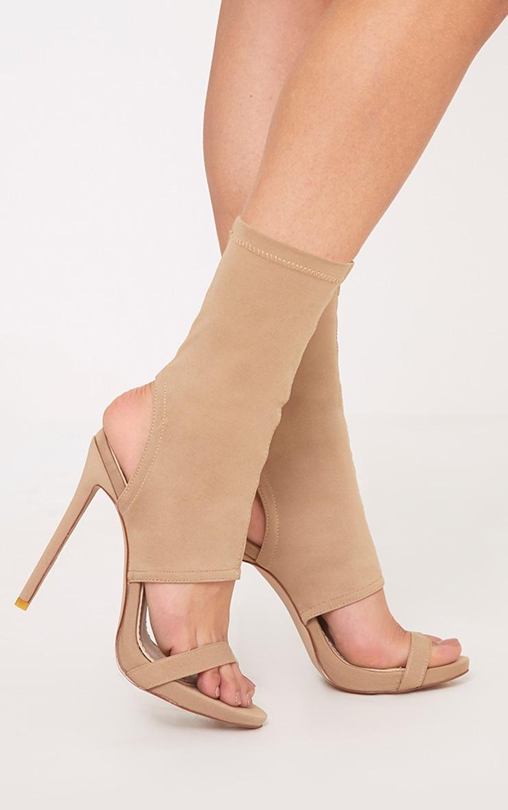 Etta Nude Cut Out Sock Heels 1