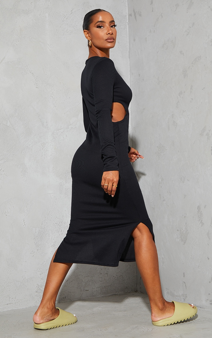 Black Rib Cut Out Side Long Sleeve Midaxi Dress 2