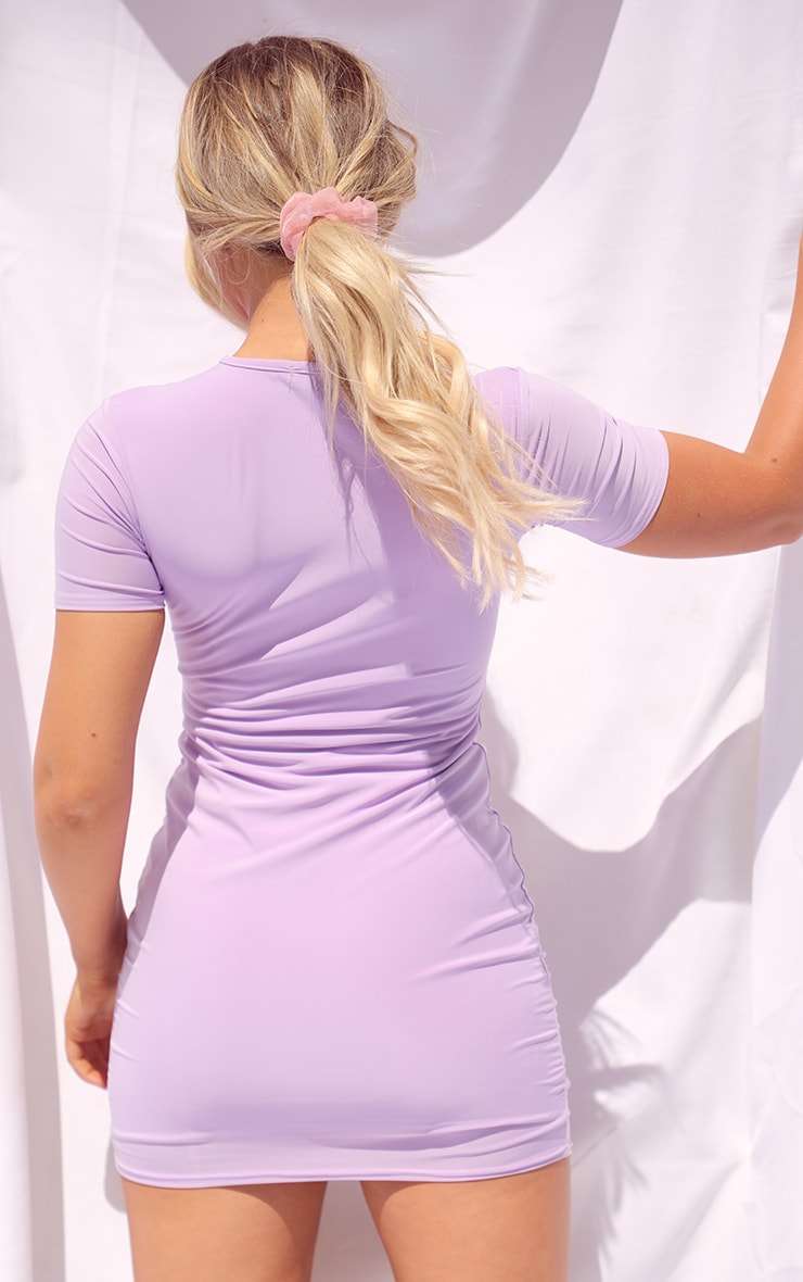 Lilac Slinky Underbust Short Sleeve Bodycon Dress 2