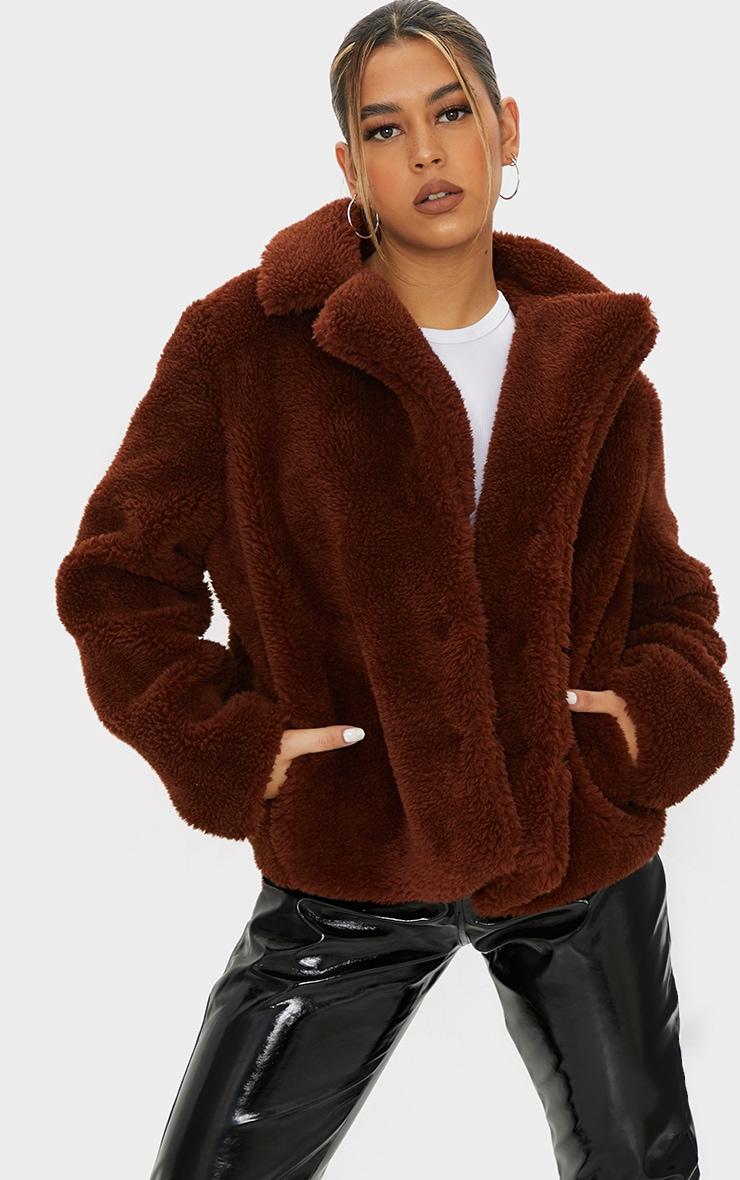 Brown Faux Fur Popper Button Down Jacket 1