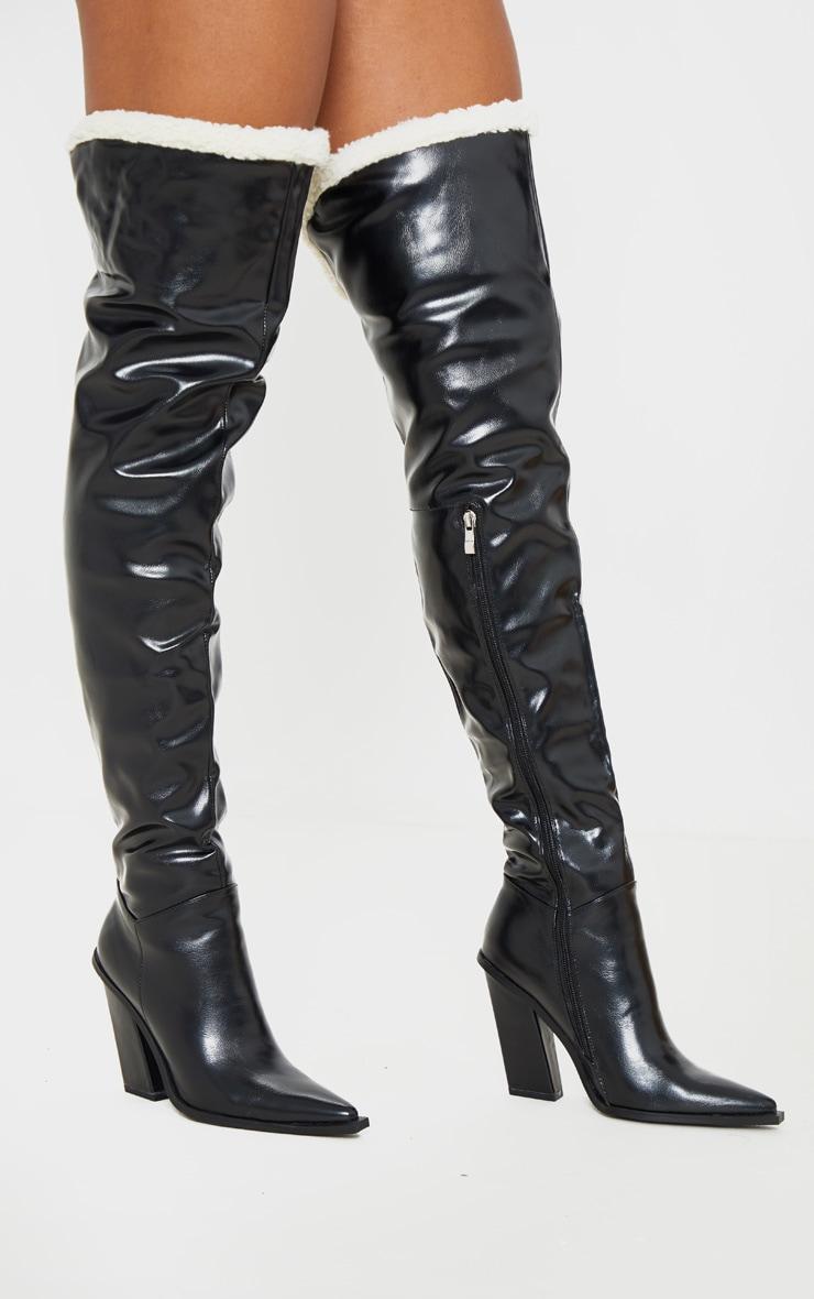 Black Borg Cuff Thigh High Boot by Prettylittlething