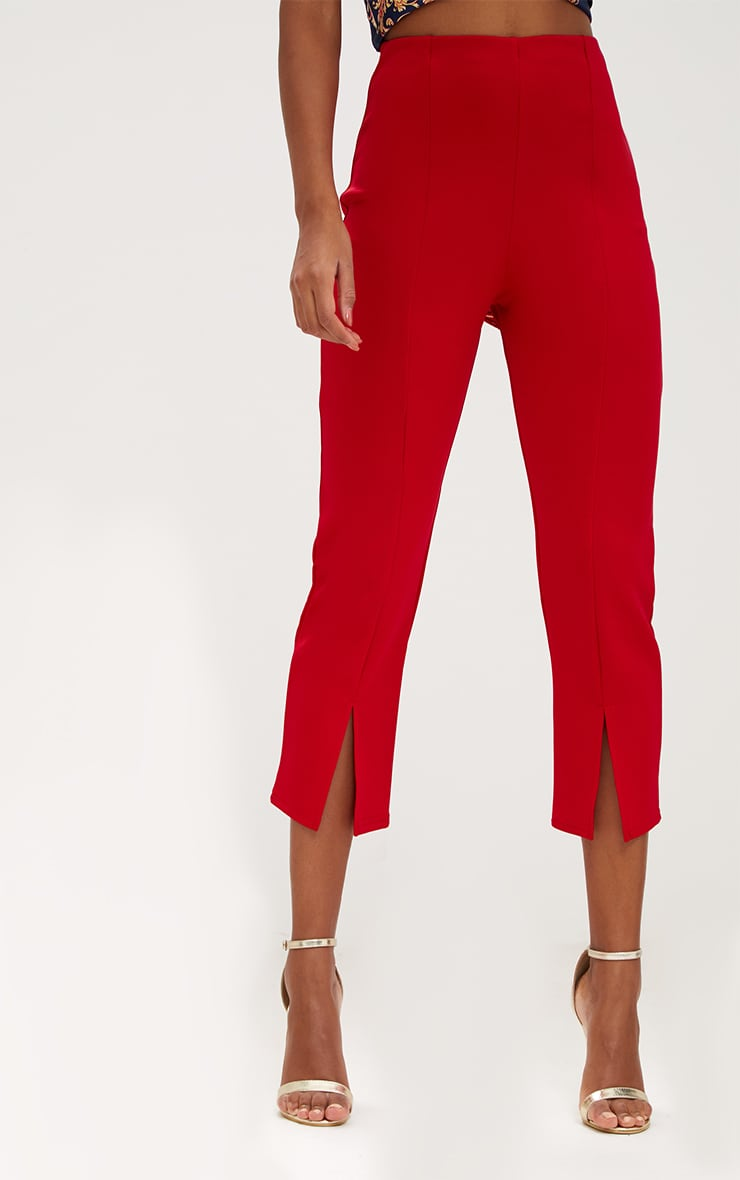 Red Front Split Straight Leg Trousers 5