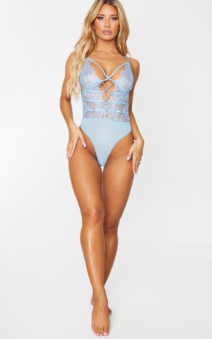 Body bleu ciel style harnais en dentelle et à laçage 3
