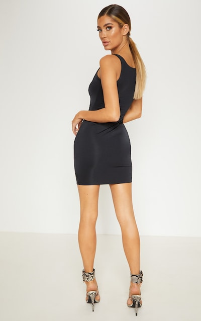 Black Double Layered Slinky Cut Out Centre Bodycon Dress