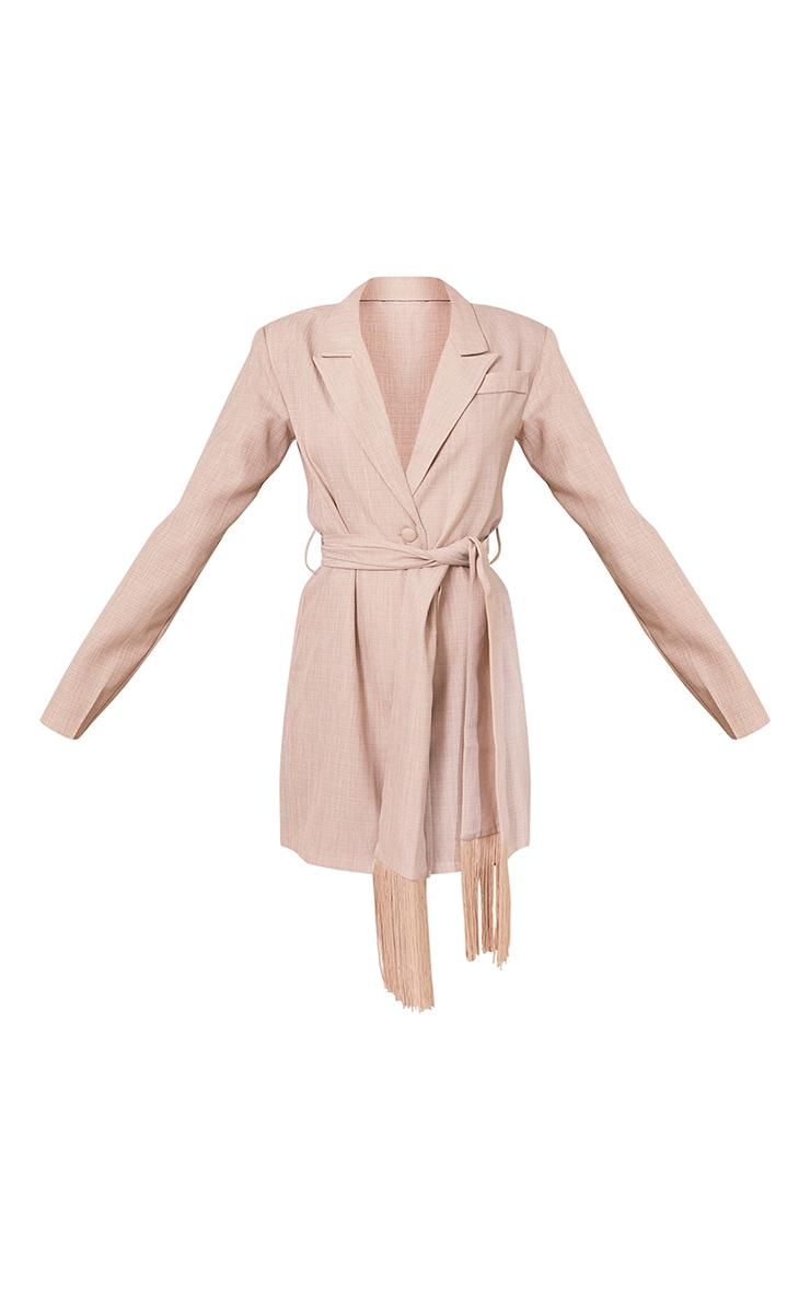 Stone Linen Tassel Detail Tie Waist Blazer Dress 5