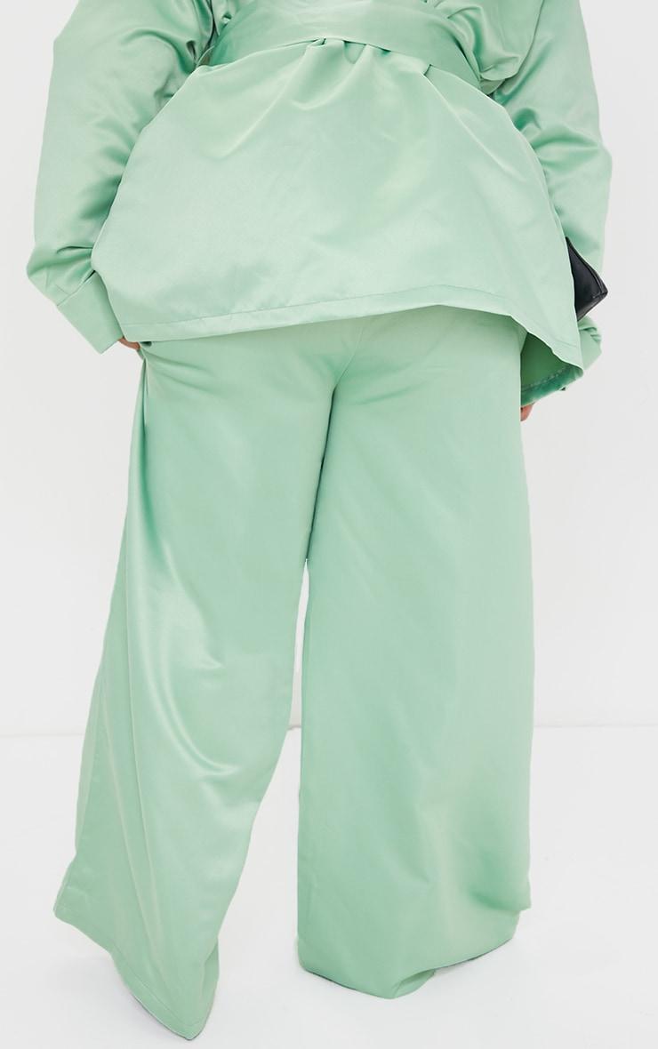 Plus Mint Satin Elasticated Waist Wide Leg Pants 3