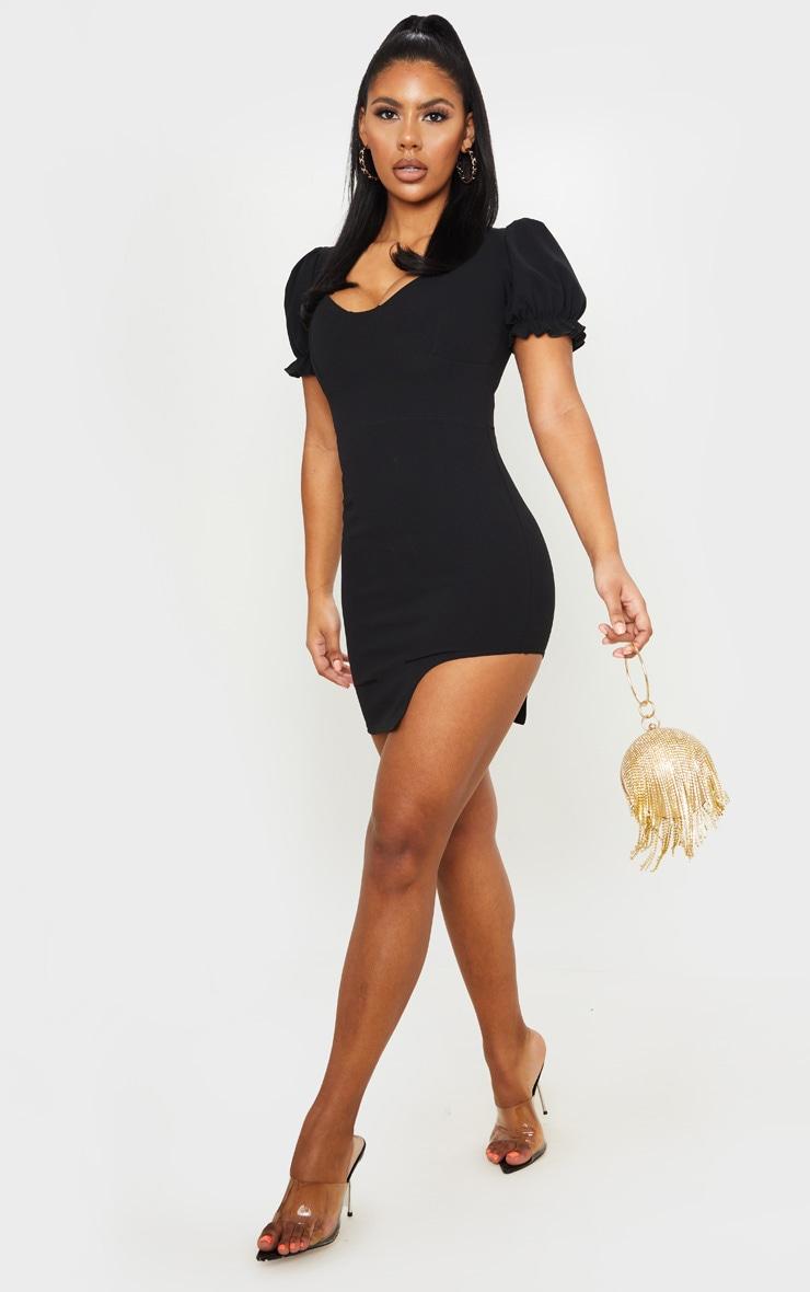 Black Frill Puff Sleeve Curved Split Hem Bodycon Dress 4