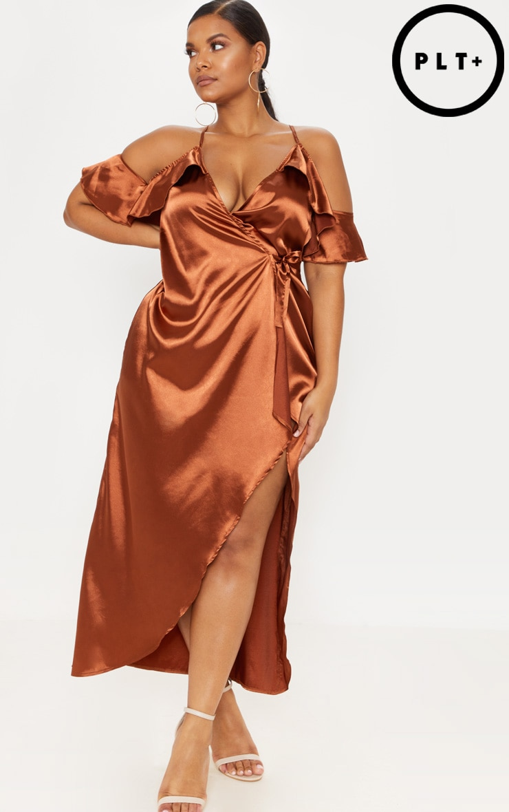 Plus Rust Satin Frill Detail Wrap Maxi Dress