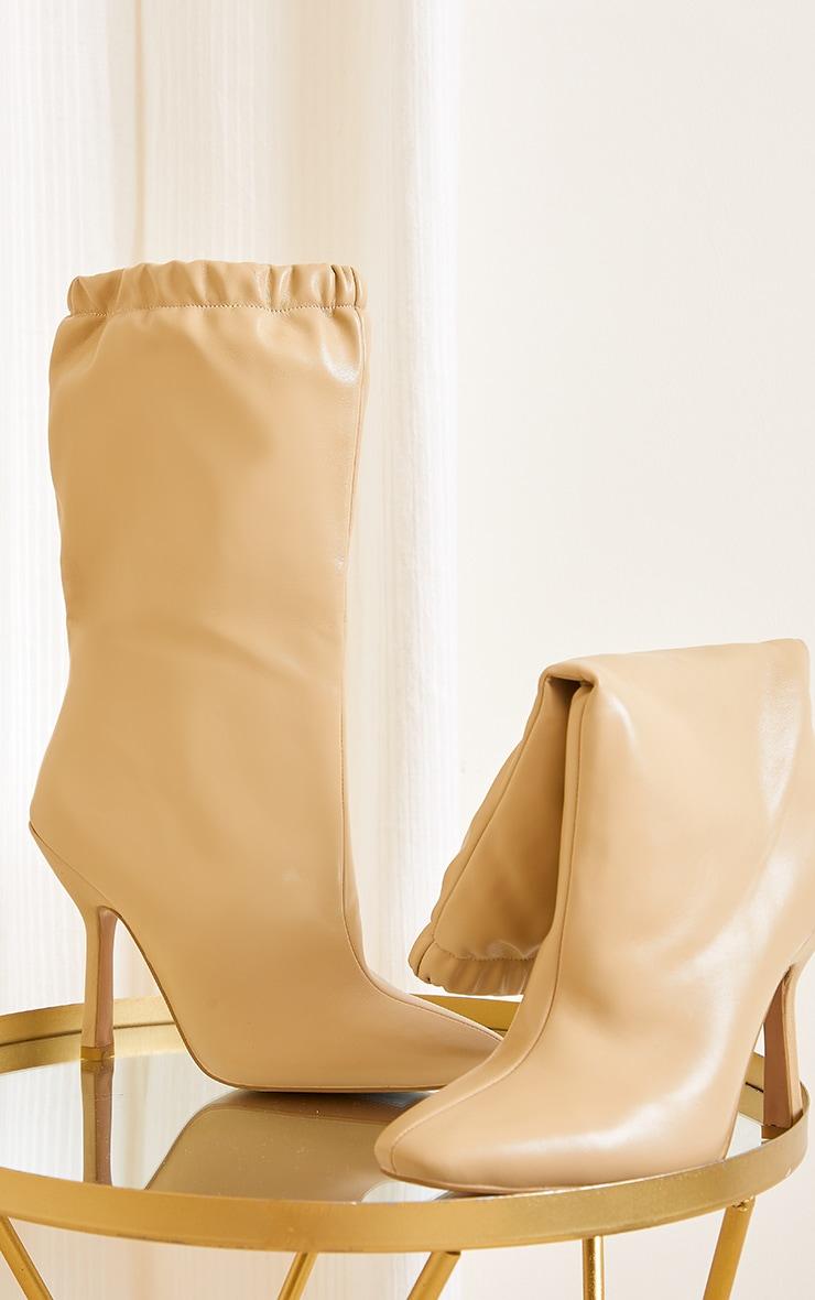 Beige Pu Elastic Cuff Mid Heeled Boots 3