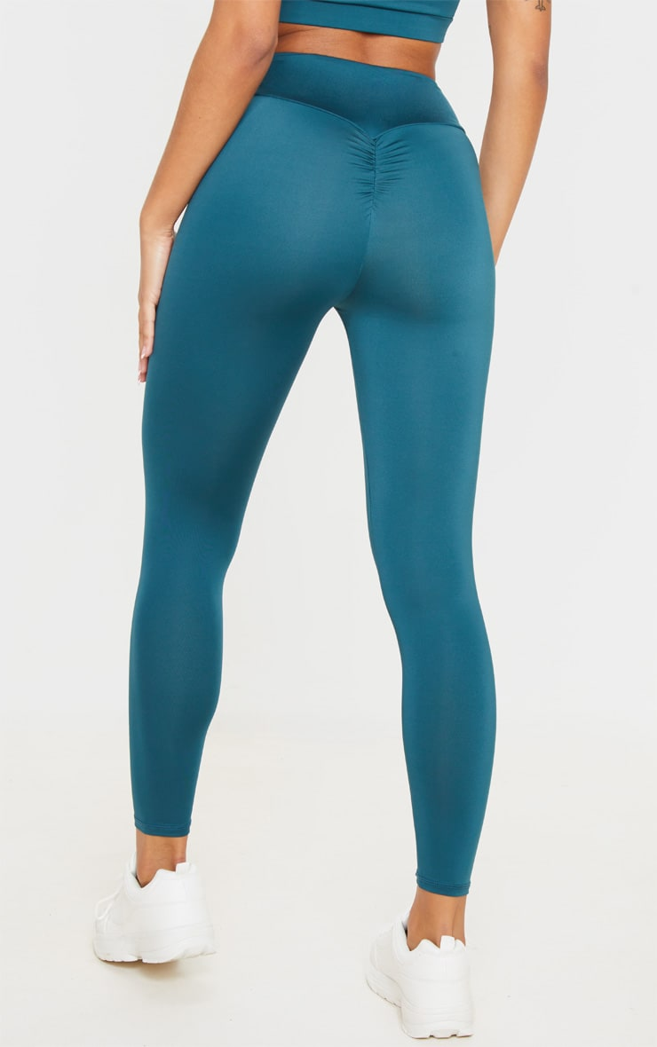 Emerald Green Mid Rise Gym Leggings 4