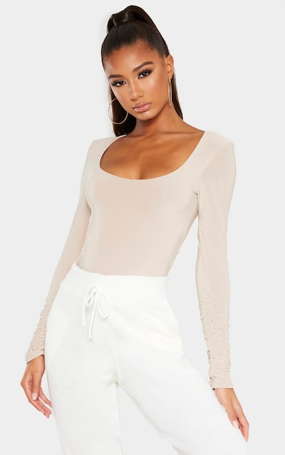 Sand Slinky Ruched Long Sleeve Bodysuit