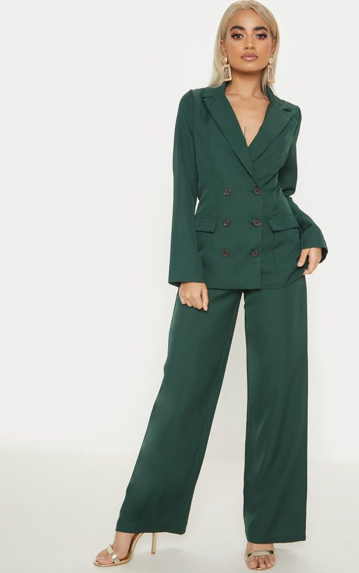Petite Emerald Green Button Detail Wide Leg Pants 1