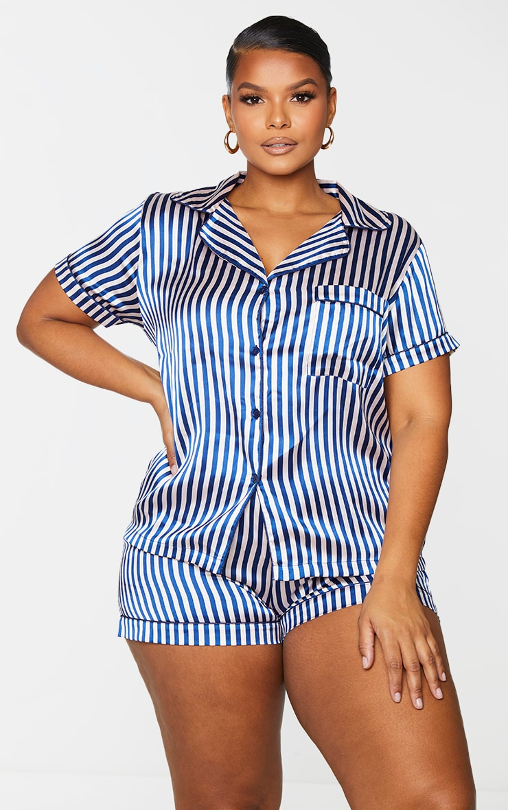 Plus Nude & Navy Striped Button Up Short PJ Set 1